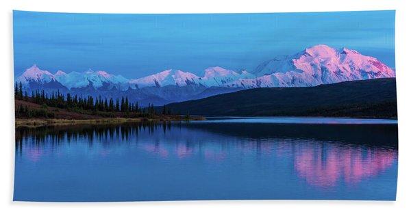 Sunset Reflections Of Denali In Wonder Lake Bath Towel