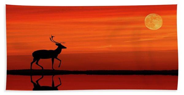 Reindeer By Moonlight Bath Towel