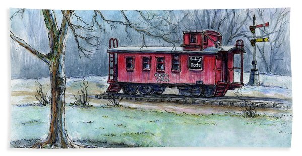 Retired Red Caboose Bath Towel