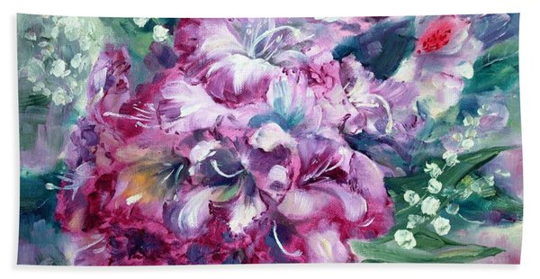 Rhododendron And Lily Of The Valley Hand Towel