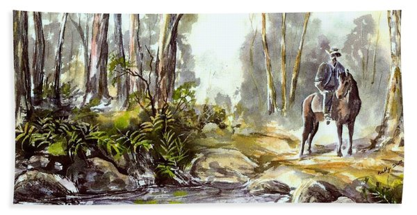 Rider By The Creek Hand Towel