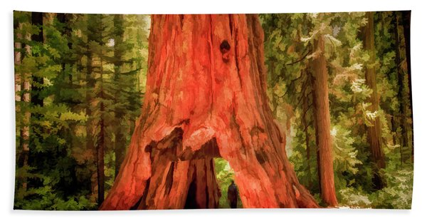 Rip Calaveras The Pioneer Cabin Tree Painted Bath Towel