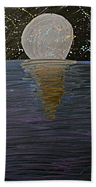 Bath Towel featuring the drawing Rising Moon by Bee-Bee Deigner