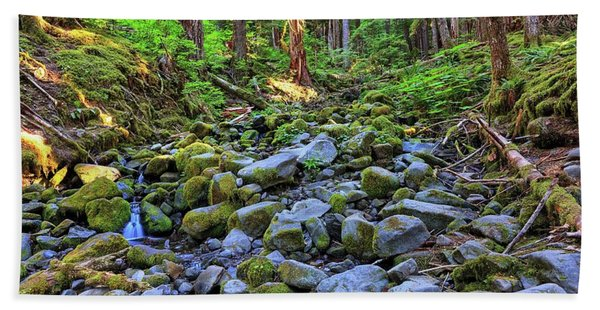 Riverbed Full Of Mossy Stones With Small Cascade Hand Towel