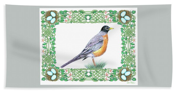 Robin In Spring Hand Towel