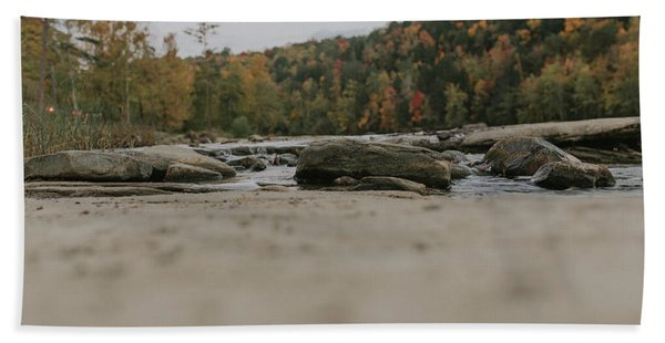 Rocks On Cumberland River Hand Towel
