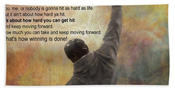 Rocky Balboa Inspirational Quote Hand Towel