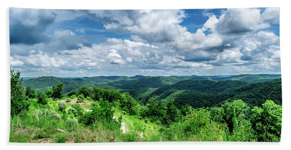 Rolling Hills And Puffy Clouds Hand Towel