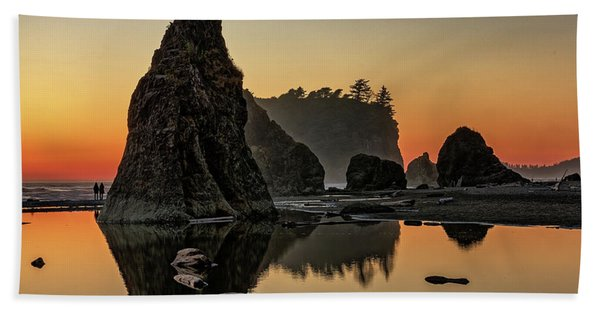 Ruby Beach At Sunset Hand Towel