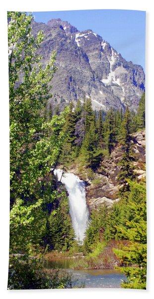 Running Eagle Falls Glacier National Park Bath Towel