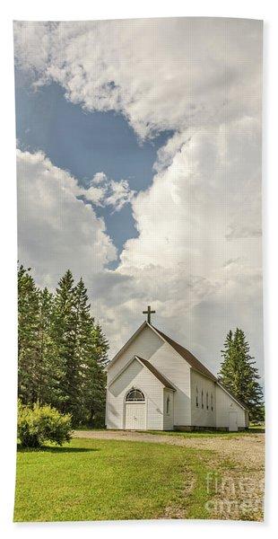 Rural White Church With A Cross Bath Towel