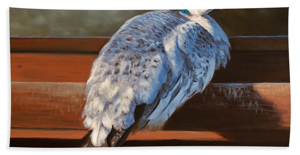 Rustic Elegance - White Peahen Hand Towel