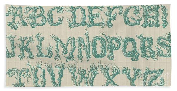 Rustic Vine Font Capital Letters Hand Towel