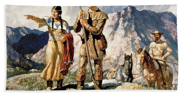 Sacagawea With Lewis And Clark During Their Expedition Of 1804-06 Hand Towel