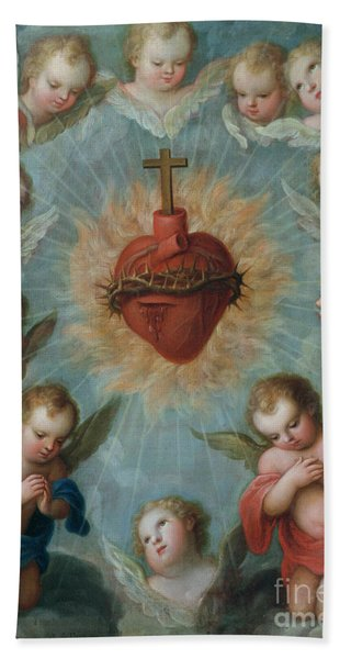 Sacred Heart Of Jesus Surrounded By Angels Bath Towel