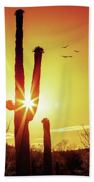 Saguaro Cactus Silhouette At Sunrise Hand Towel