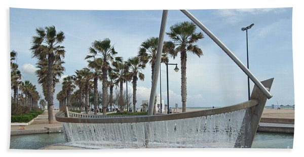 Sail Boat Fountain In Valencia Bath Towel