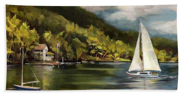 Sailboat On Lake Morey Hand Towel