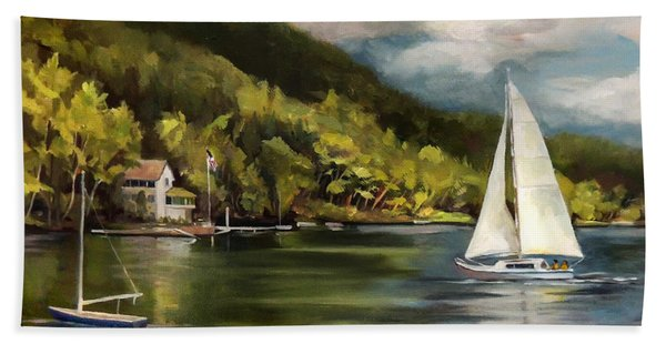 Sailboat On Lake Morey Bath Towel