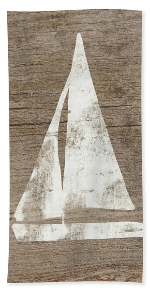 Sailboat On Wood- Art By Linda Woods Bath Towel