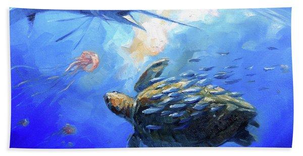 Sailfish And Turtle Hand Towel