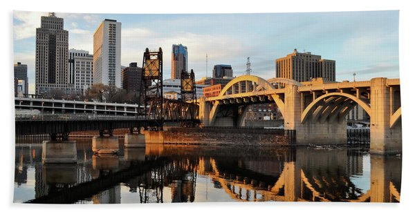 Saint Paul Mississippi River Sunset Hand Towel
