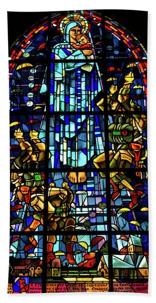 Sainte-mere-eglise Paratrooper Tribute Stained Glass Window Bath Towel