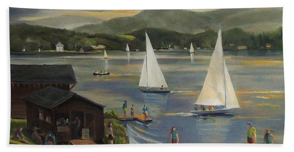 Sailing At Lake Morey Vermont Bath Towel