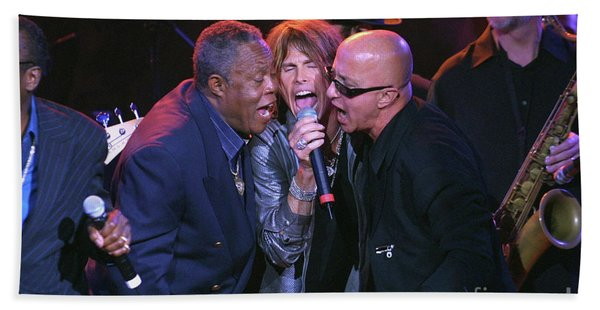 Sam Moore, Steven Tyler And Paul Schaffer Hand Towel