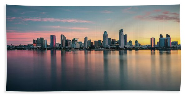 Hand Towel featuring the photograph San Diego Skyline At Dawn by James Udall