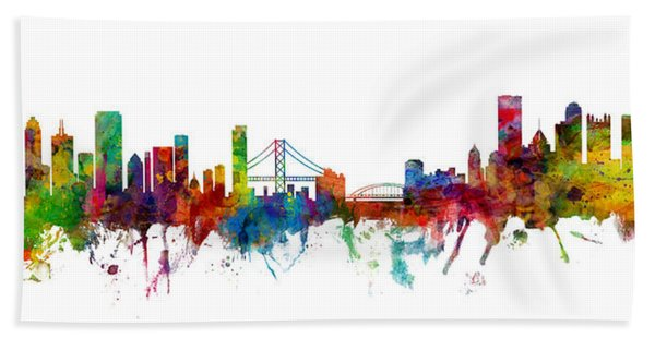 San Francisco And Pittsburgh Skylines Mashup Hand Towel