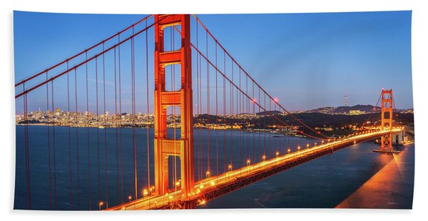 Hand Towel featuring the photograph San Francisco Through The Golden Gate Bridge At Dusk by James Udall
