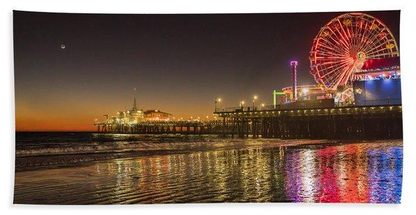 Santa Monica Pier After Sunset Hand Towel