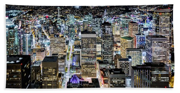 Hand Towel featuring the photograph Seattle Lights by Mihai Andritoiu