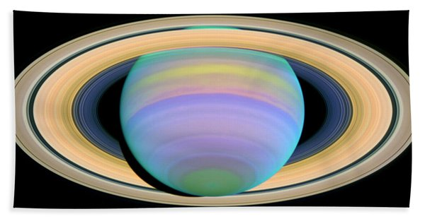 Saturn's Rings In Ultraviolet Light Bath Towel
