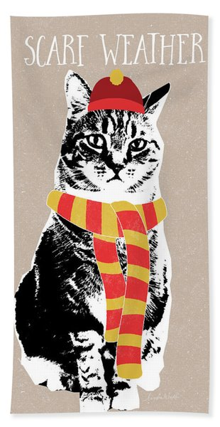 Scarf Weather Cat- Art By Linda Woods Bath Towel