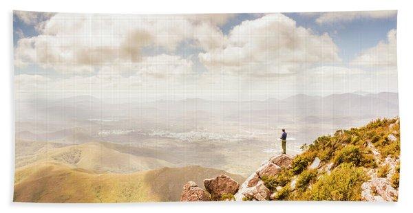 Scenic View Of Mt Zeehan, Tasmania, Australia Hand Towel