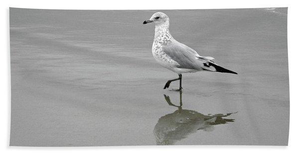 Sea Gull Walking In Surf Hand Towel