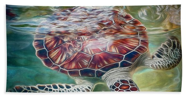 Sea Turtle Dive Hand Towel