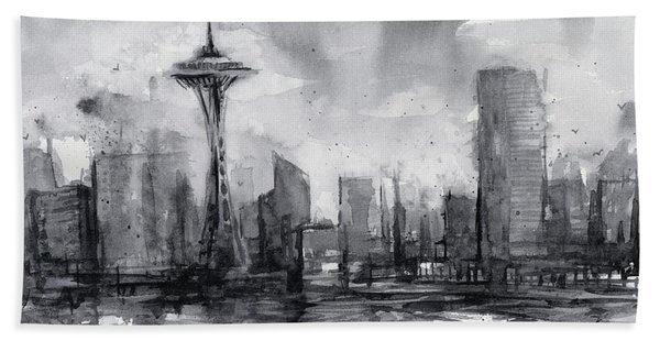 Seattle Skyline Painting Watercolor  Bath Towel