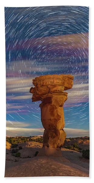 Secret Spire And Star Trails Hand Towel