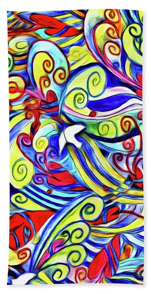 Semi Abstract Paintings Button Hand Towel