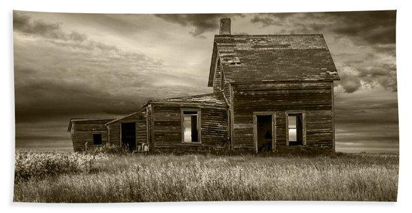 Sepia Tone Of Abandoned Prairie Farm House Hand Towel