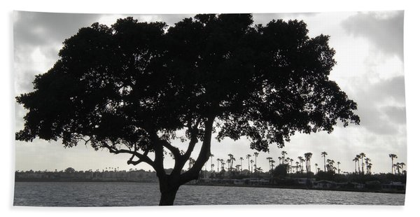 Silhouette Of Tree Hand Towel