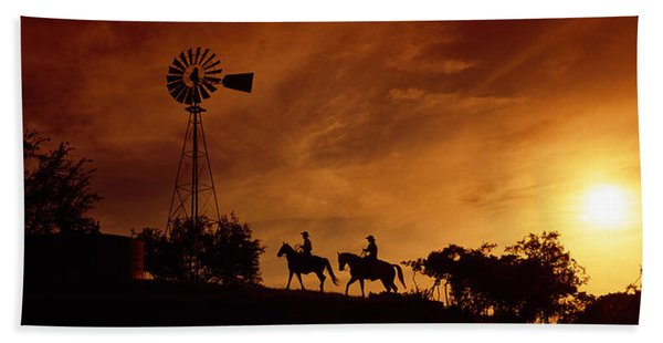 Silhouette Of Two Horse Riders Hand Towel