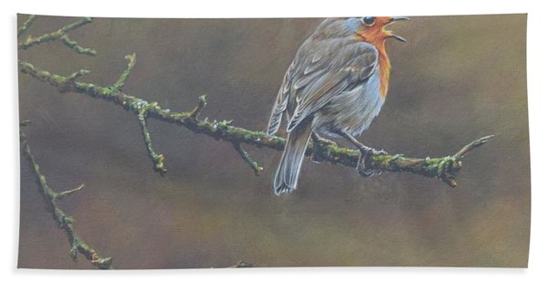 Bath Towel featuring the painting Singing Robin by Alan M Hunt