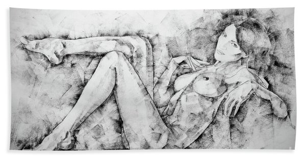 Sketchbook Page 46 Drawing Woman Classical Sitting Pose Hand Towel