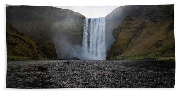 Hand Towel featuring the photograph Skogafoss Waterfall In Iceland by James Udall