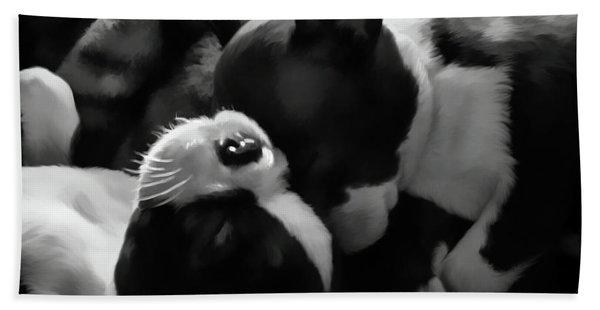 Sleeping Beauties - Boston Terriers Hand Towel