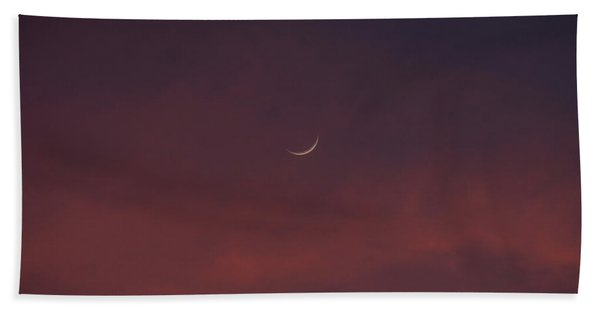 Sliver Moon Floating In A Pink Sky Over Venice Florida Bath Towel